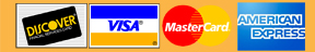 Visa, Master Card, Discover and American Express
